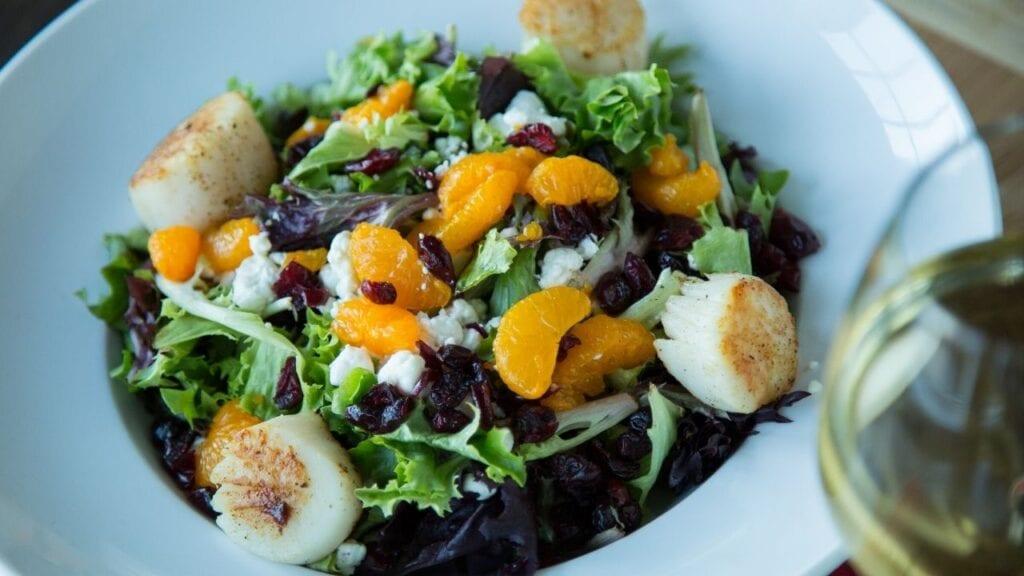 Scallop Salad and Wine